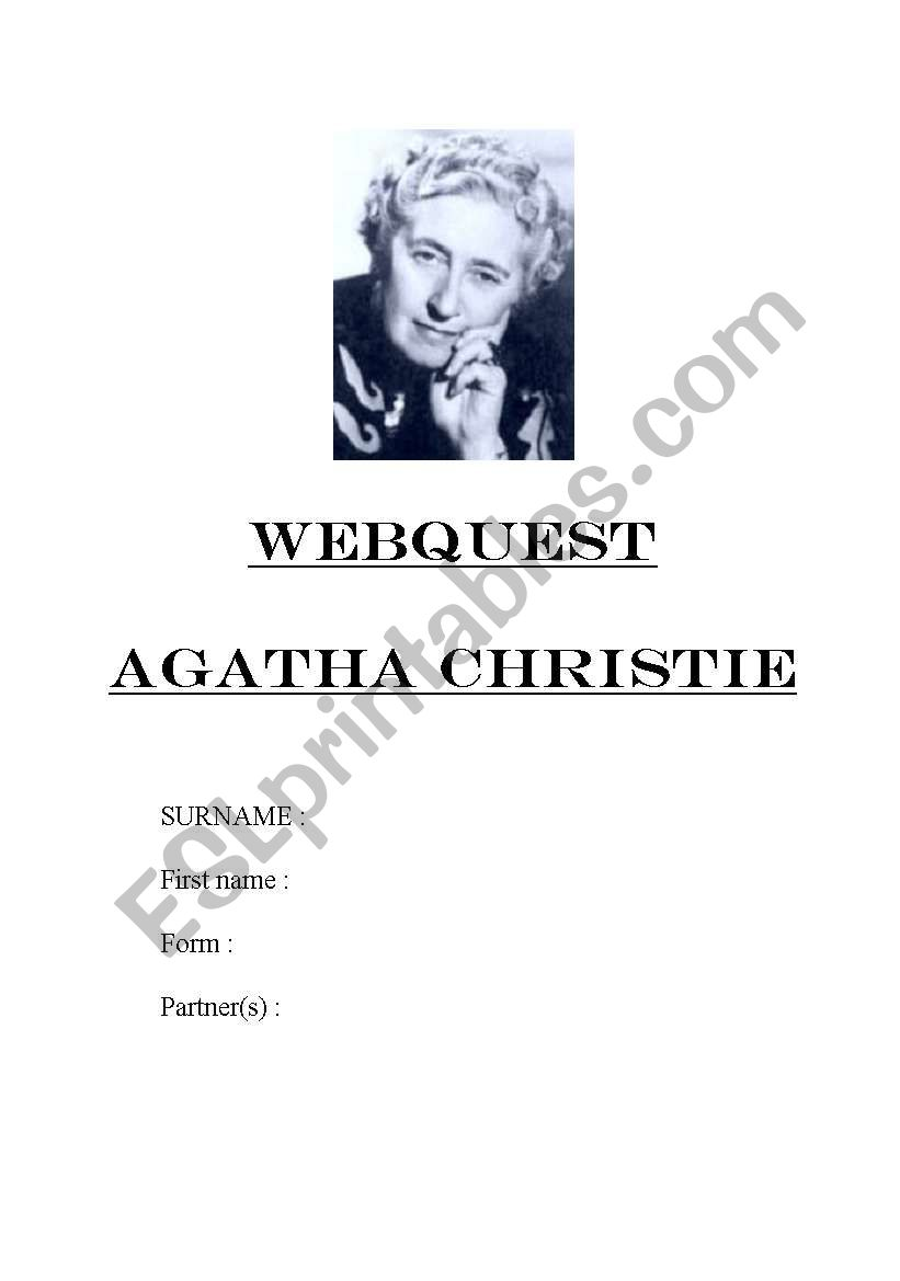 AGATHA CHRISTIE WEBQUEST worksheet