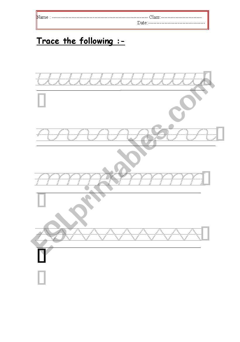 tracing (4) worksheet