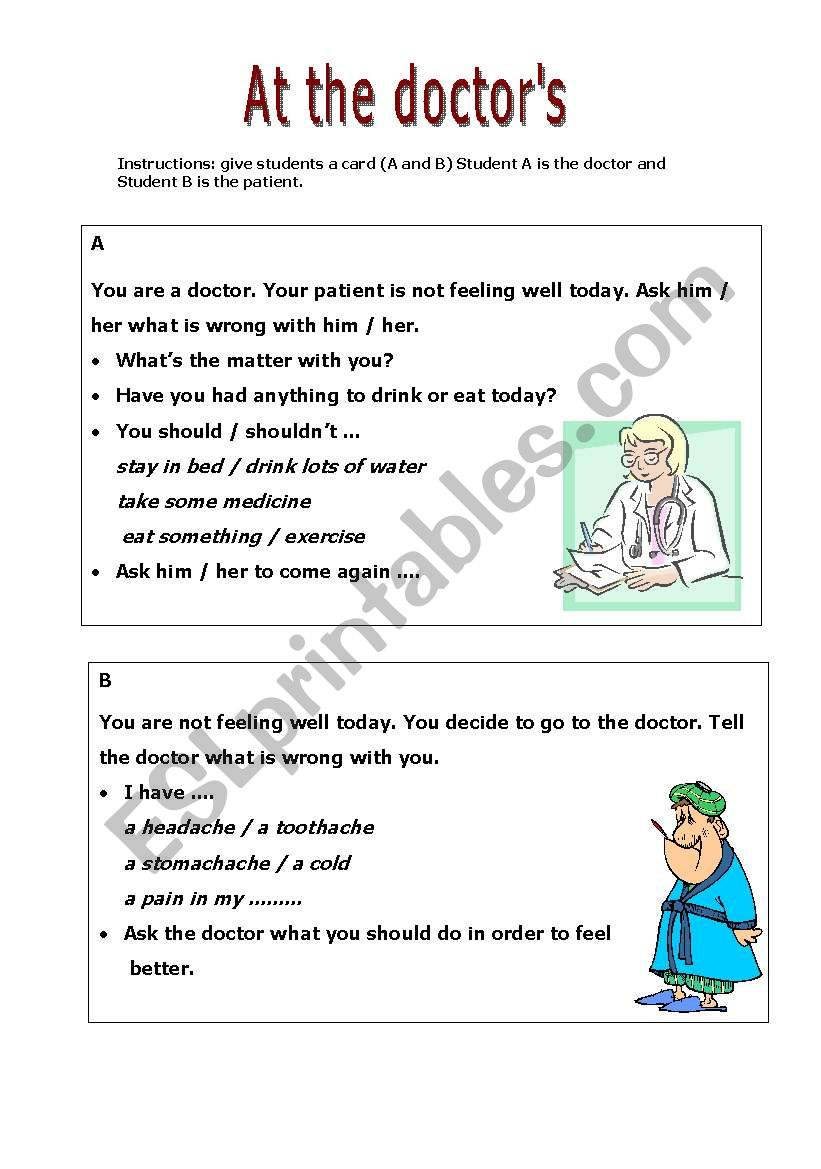 At the doctor´s - speaking activity