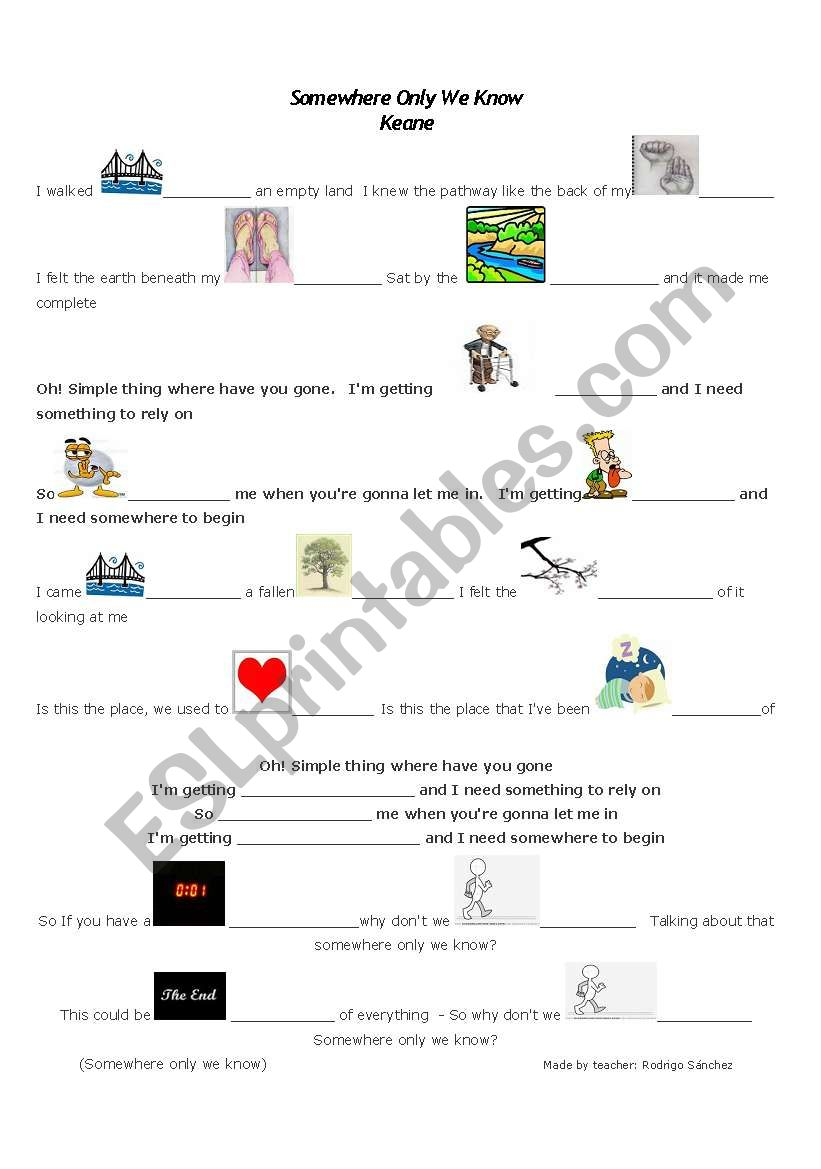 Keane - Somewhere only we know - ESL worksheet by Roderick