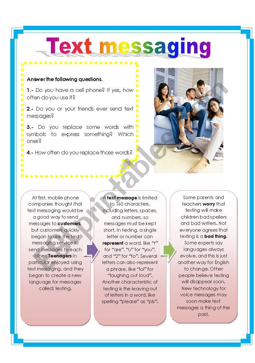 Text messaging (2 pages) worksheet