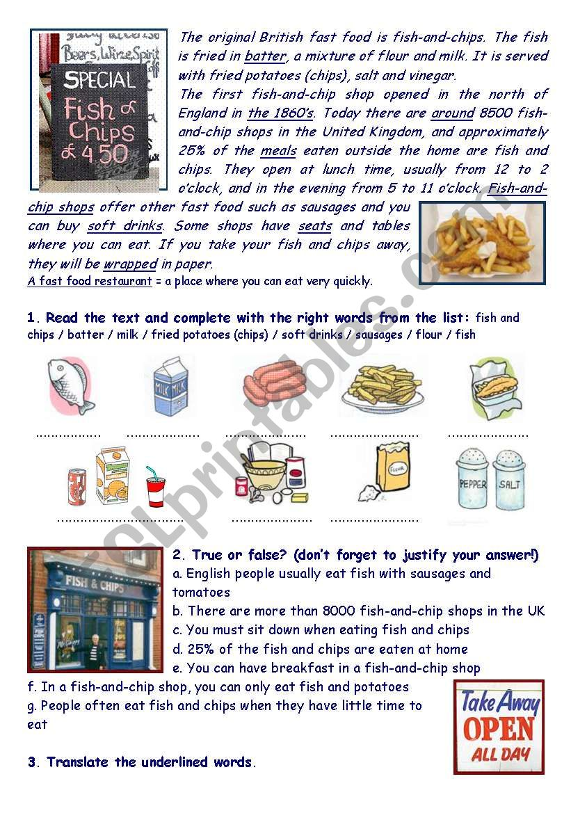 Fish-and-chip shops in the UK worksheet