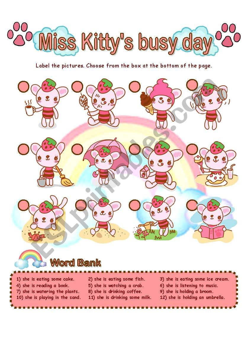 Miss Kitty´s busy day worksheet