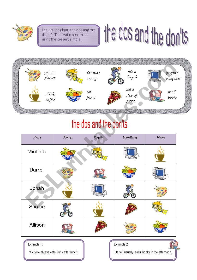 The Dos and the Don´ts worksheet