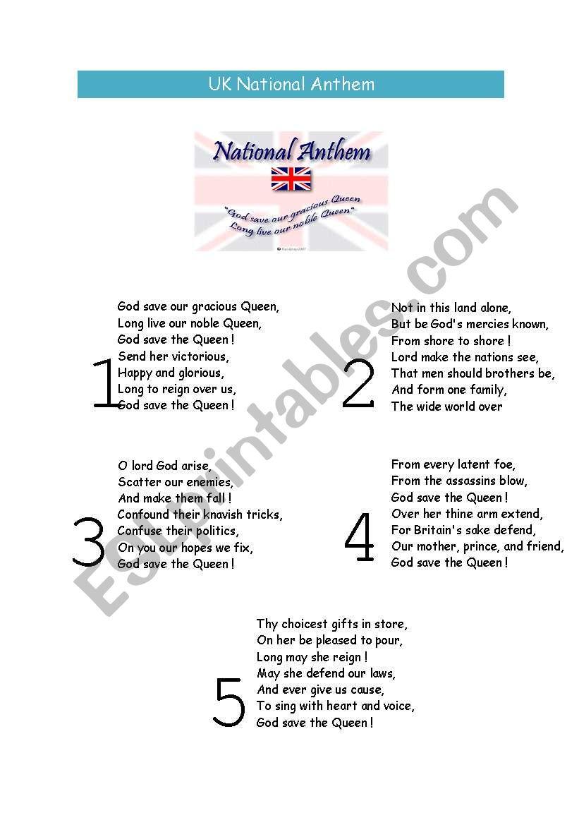 Uk national anthem - ESL worksheet by anafsousa