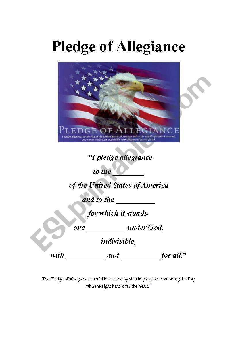 Pledge Of Allegiance Esl Worksheet By Gracie88