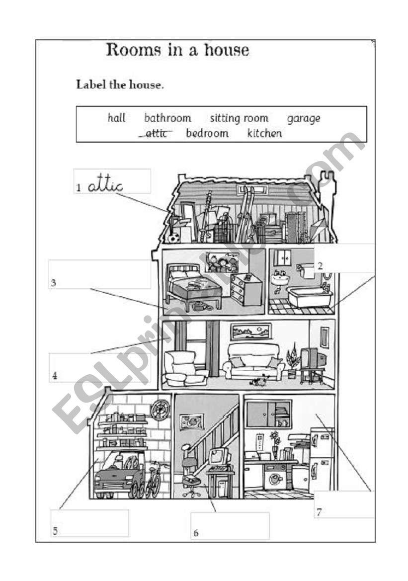 Rooms Worksheet: ESL Worksheet By @yshen