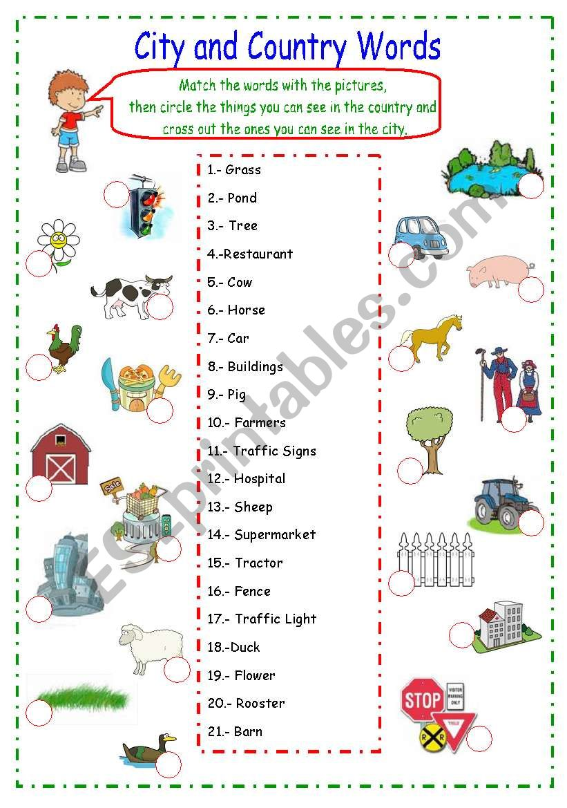 country and city words esl worksheet by karen1980. Black Bedroom Furniture Sets. Home Design Ideas