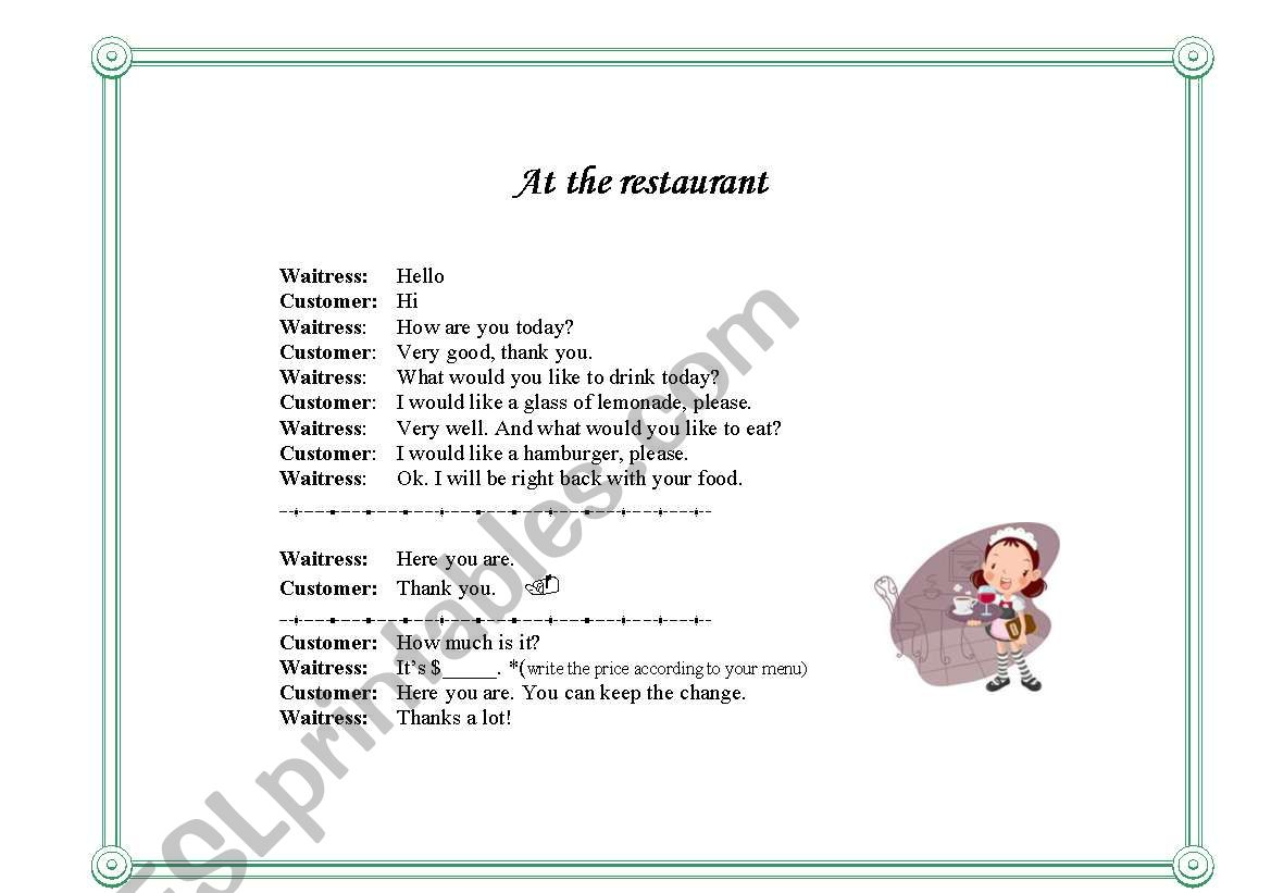 make your own restaurant menu esl worksheet by purpleflower