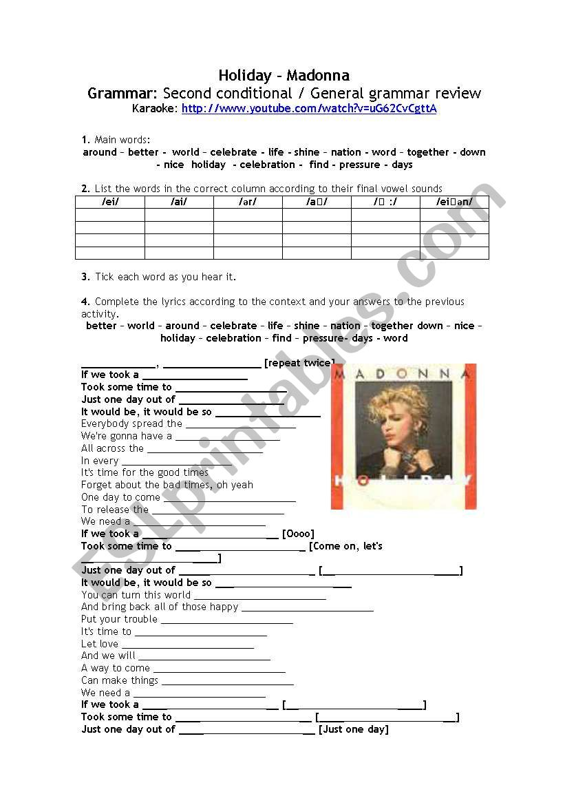 Song: HOLIDAY ( Madonna) worksheet