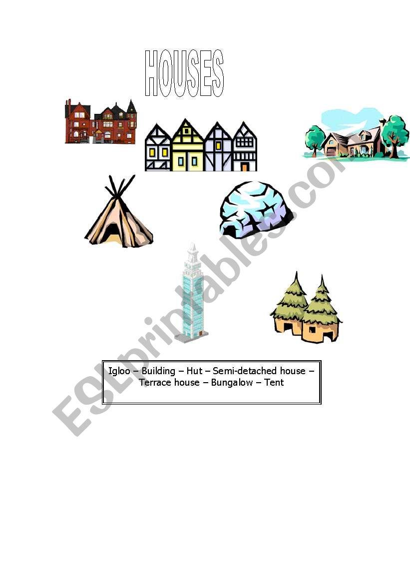 HOUSES worksheet