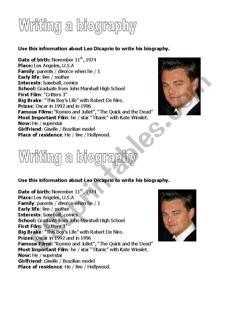 Leo Dicaprio´s Biography worksheet
