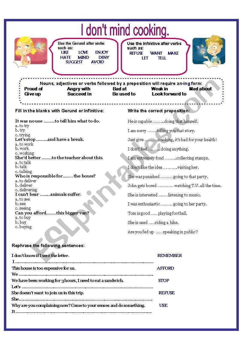 I DON´T MIND COOKING. worksheet