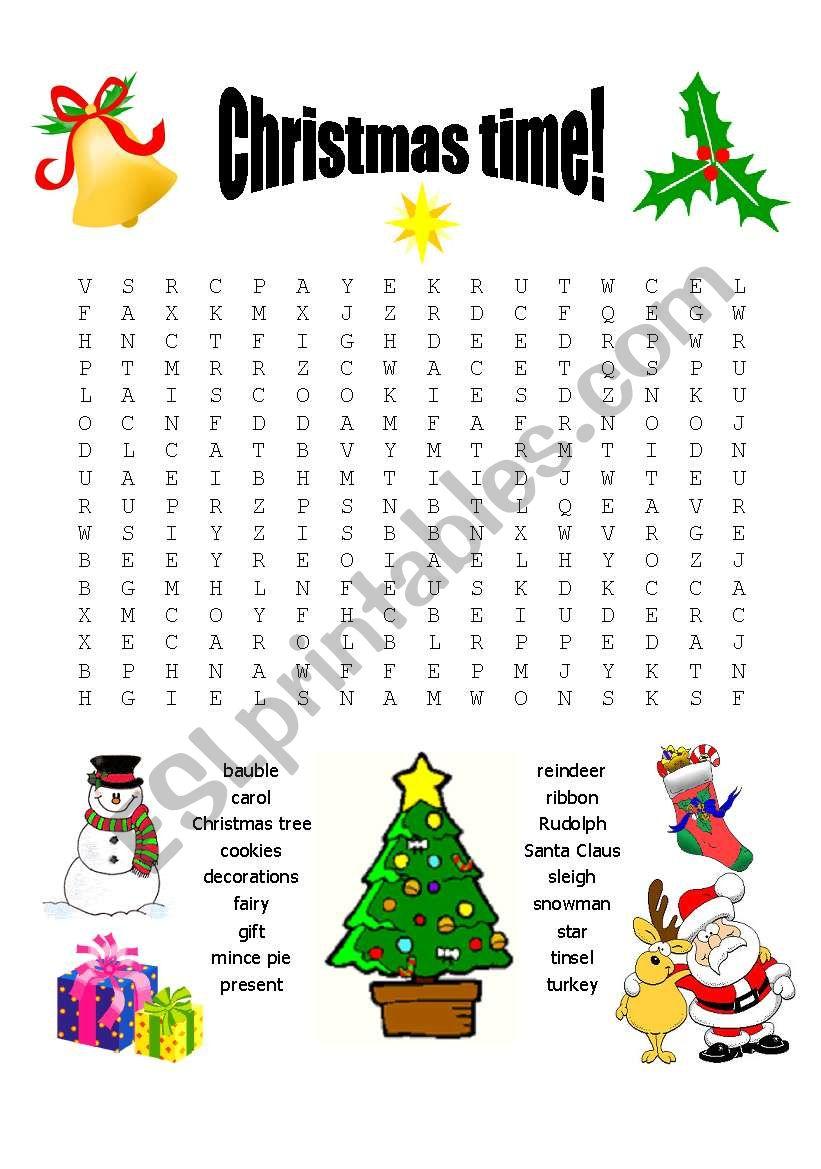 Christmas wordsearch - ESL worksheet by sarahlandrygan
