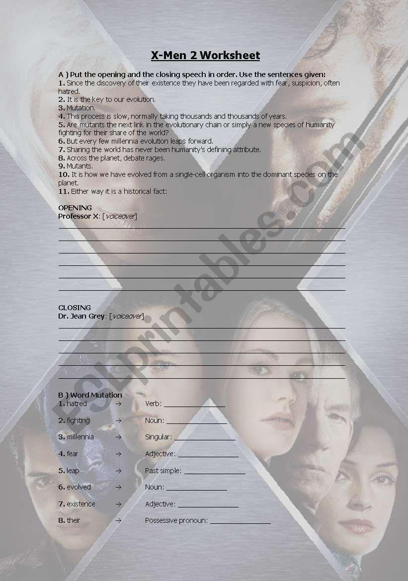 X-Men 2 worksheet