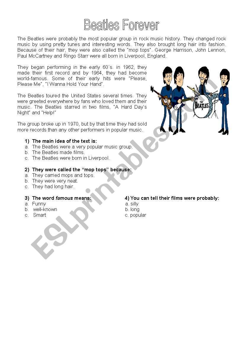 Beatles Forever worksheet