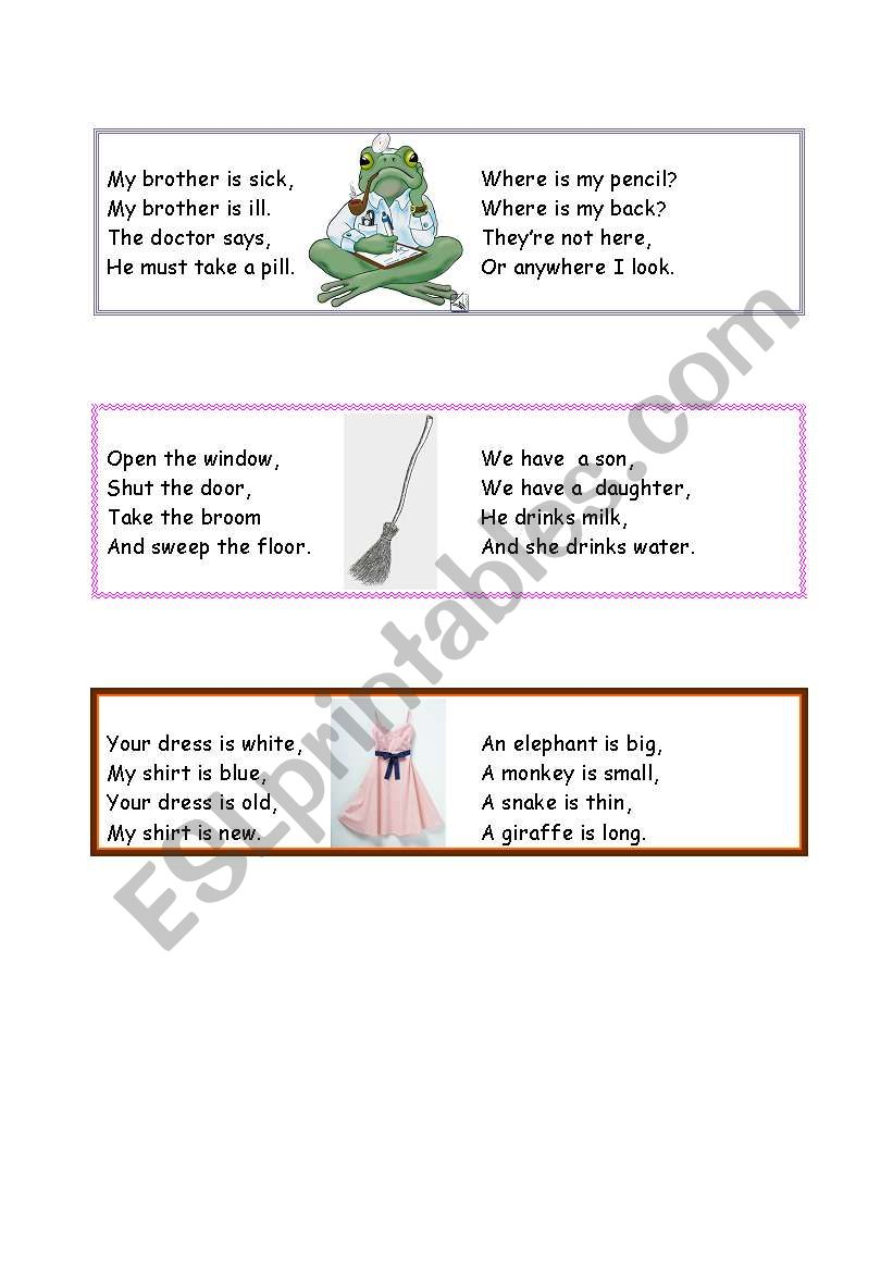 !!!  YOUNG   LEARNERS !!! short poems and rhymes :)  PART 1