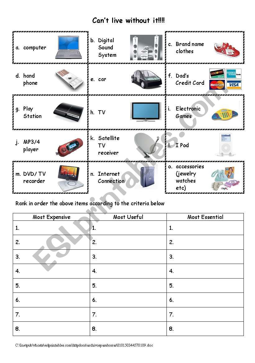 Can´t live without it worksheet
