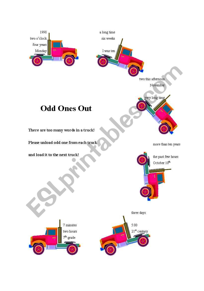 Odd ones out worksheet