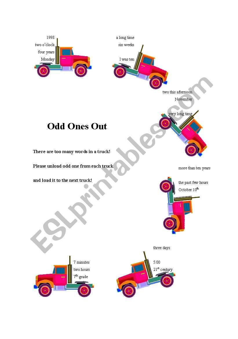 Odd ones out worksheet