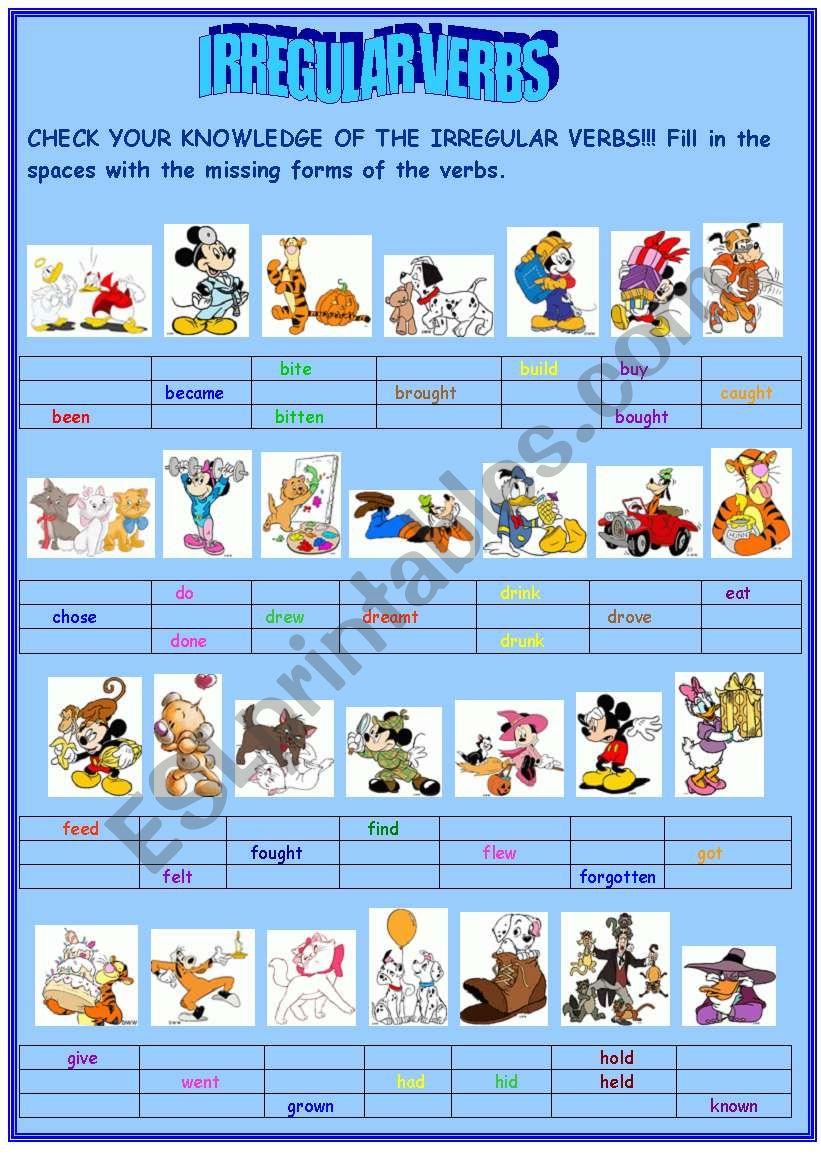Irregular verbs (PART I) worksheet