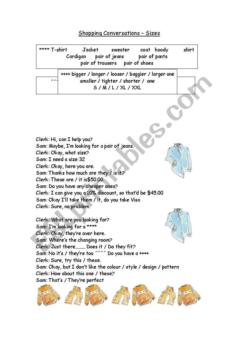SHOPPING CONVERSATION worksheet