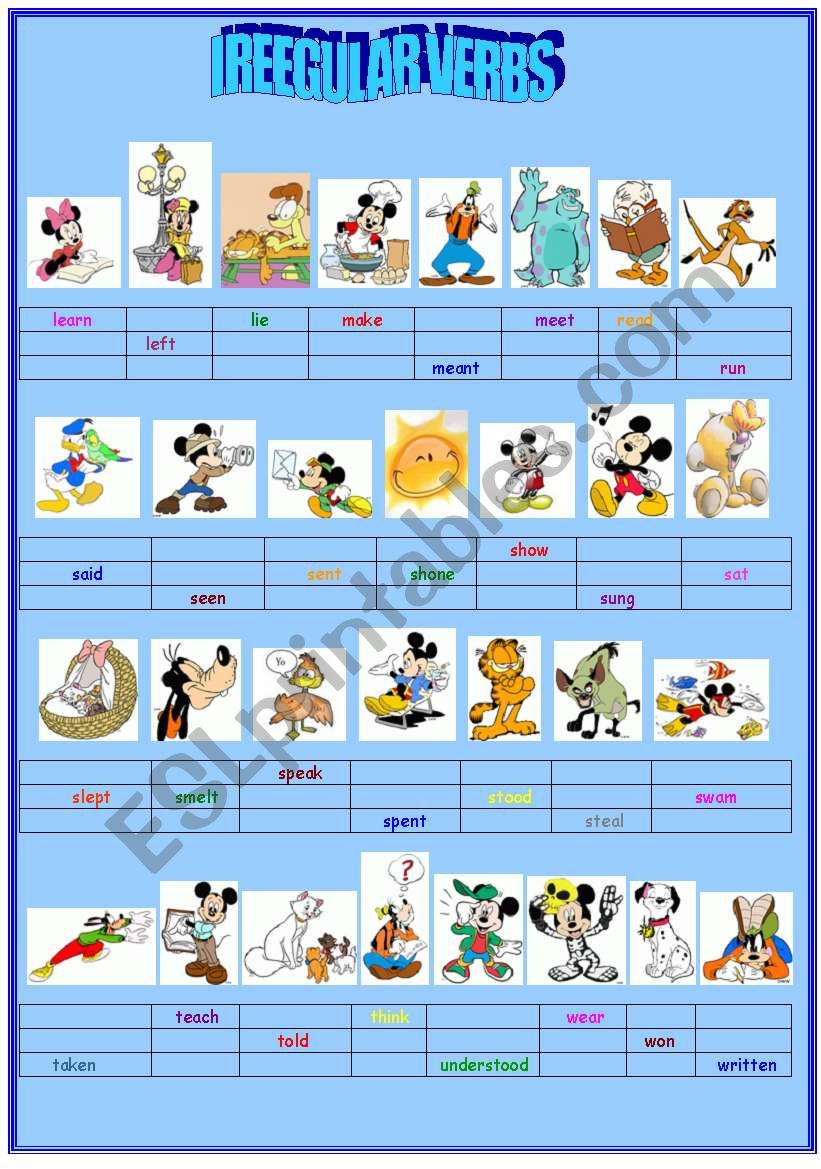 IRREGULAR VERBS (PART II) worksheet