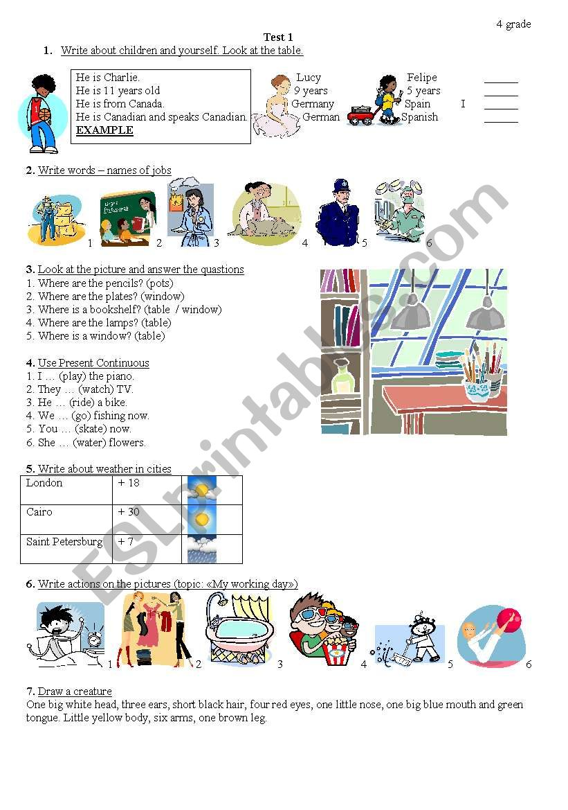 test for primary school worksheet