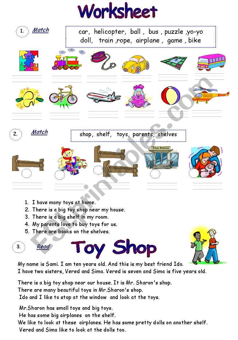 Reading Comprehension/ Toys - ESL worksheet by Victoria-Ladybug
