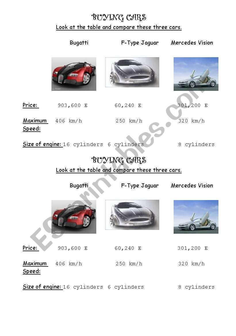 Buying Cars worksheet