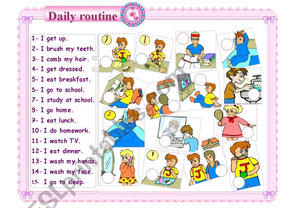 daily routine worksheet