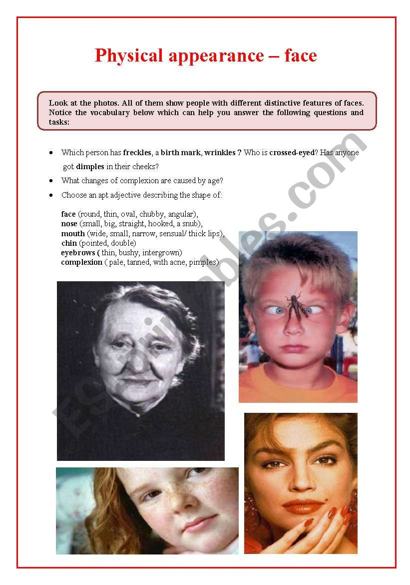 Physical appearance  1 - face worksheet