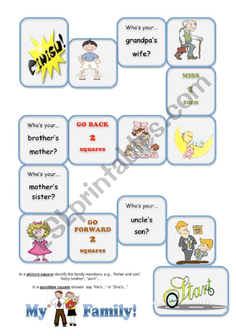 My Family Game worksheet