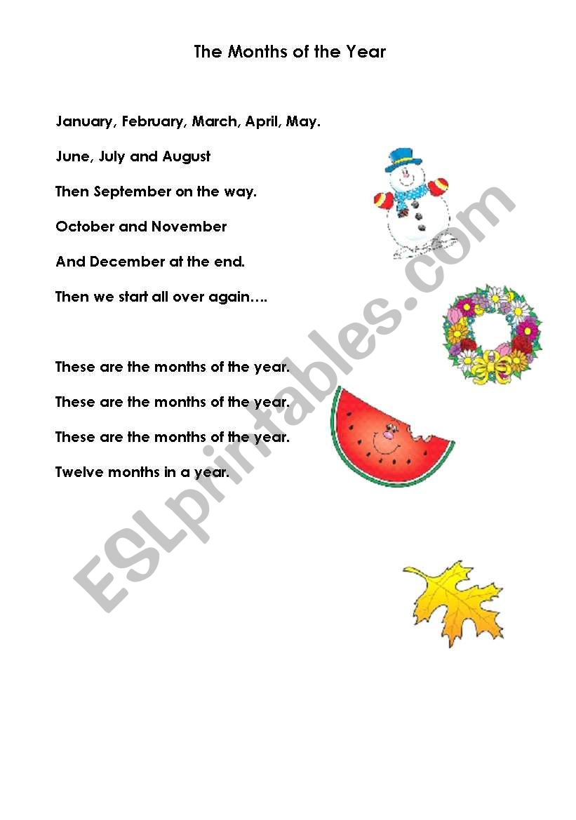 English worksheets: Months of the Year Song