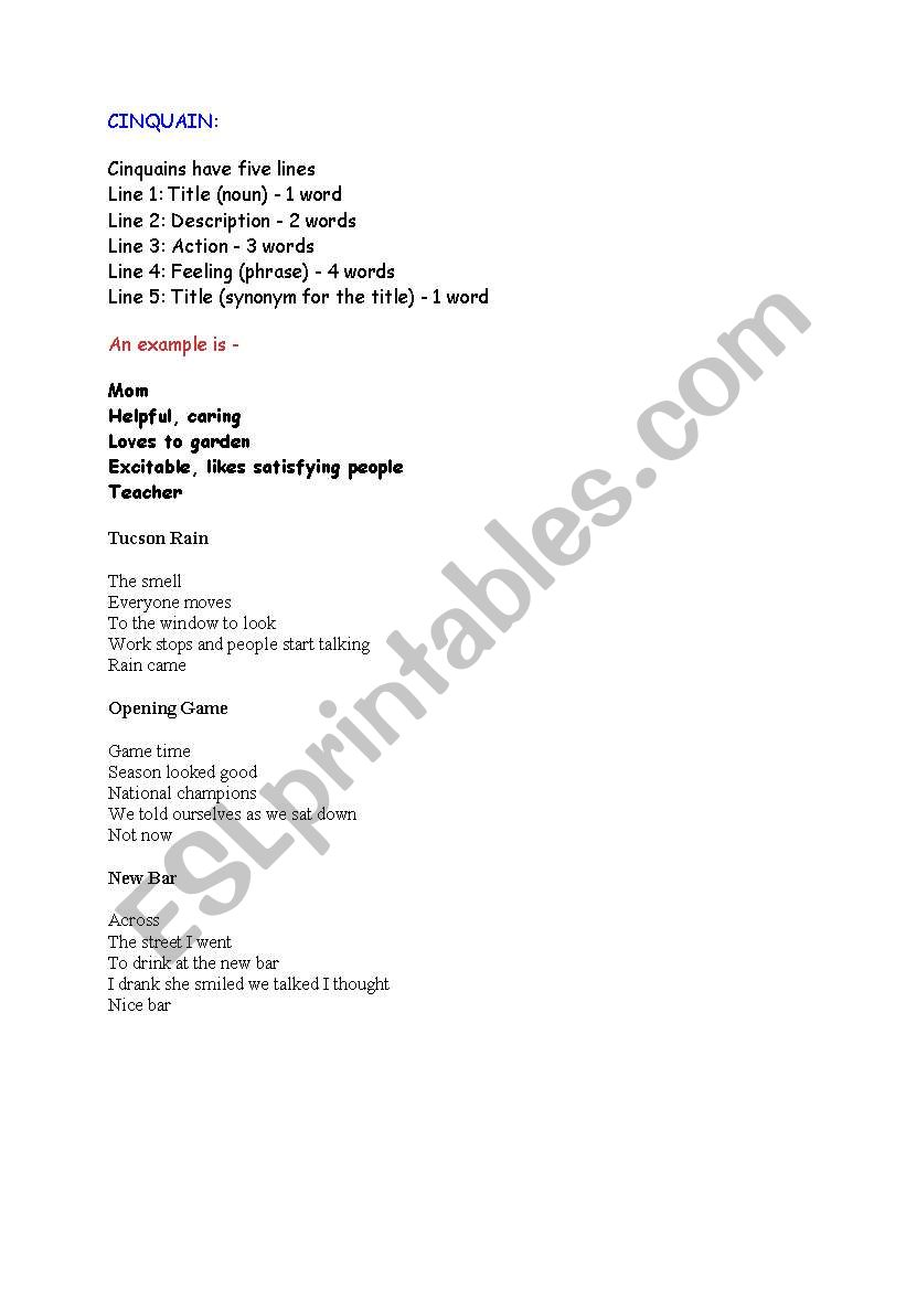 TYPES OF POEMS - ESL worksheet by ladyorca