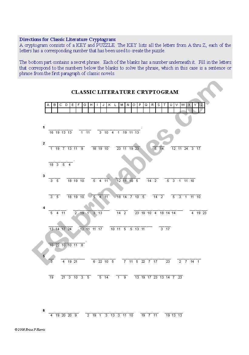 Classic Literature Cryptogram and Crossword