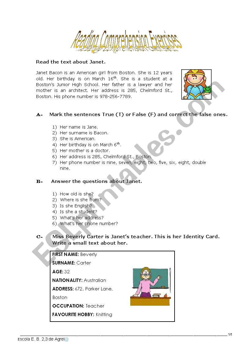 - Reading Comprehension Exercises - ESL Worksheet By Jayce