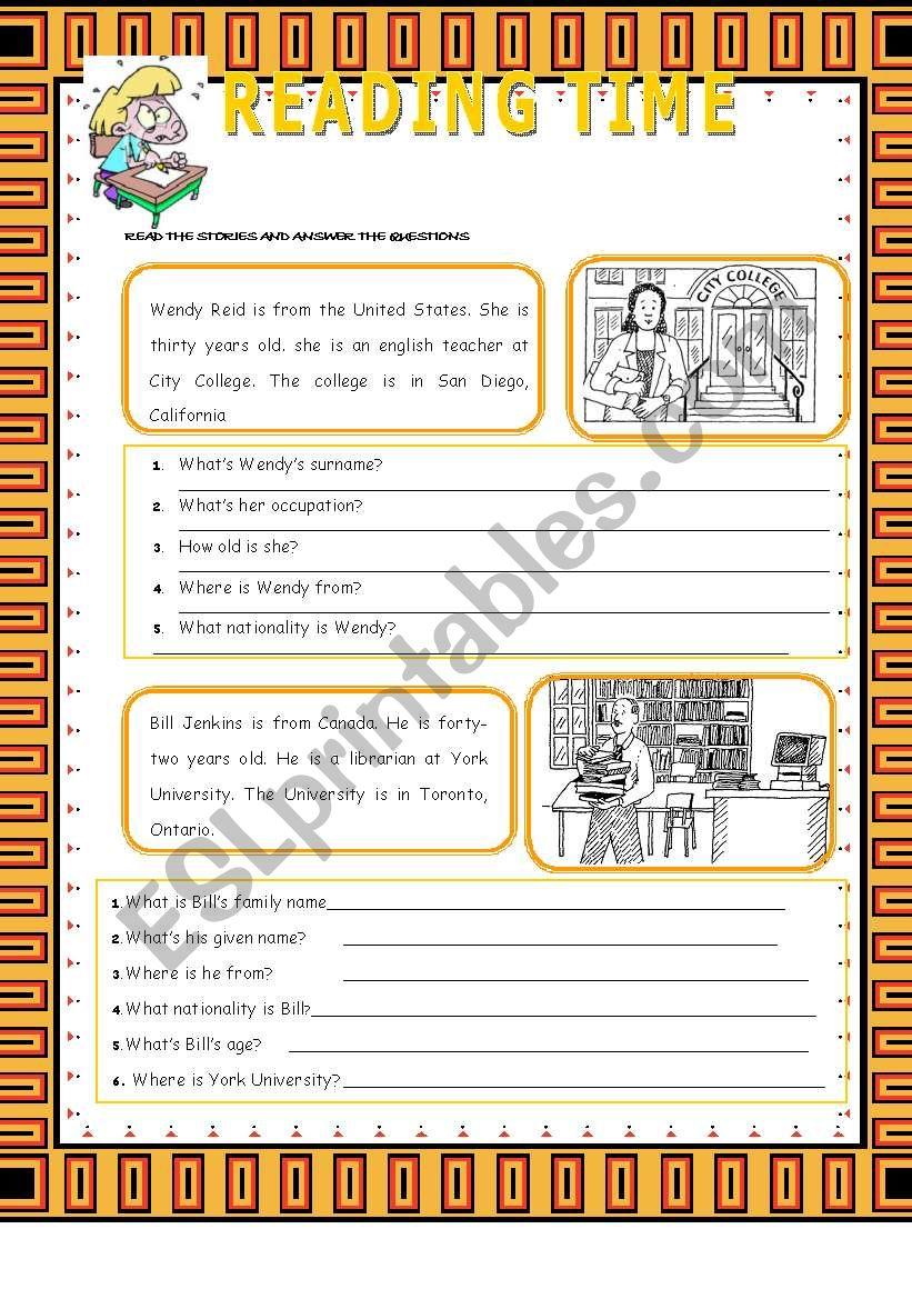 READING TIME worksheet
