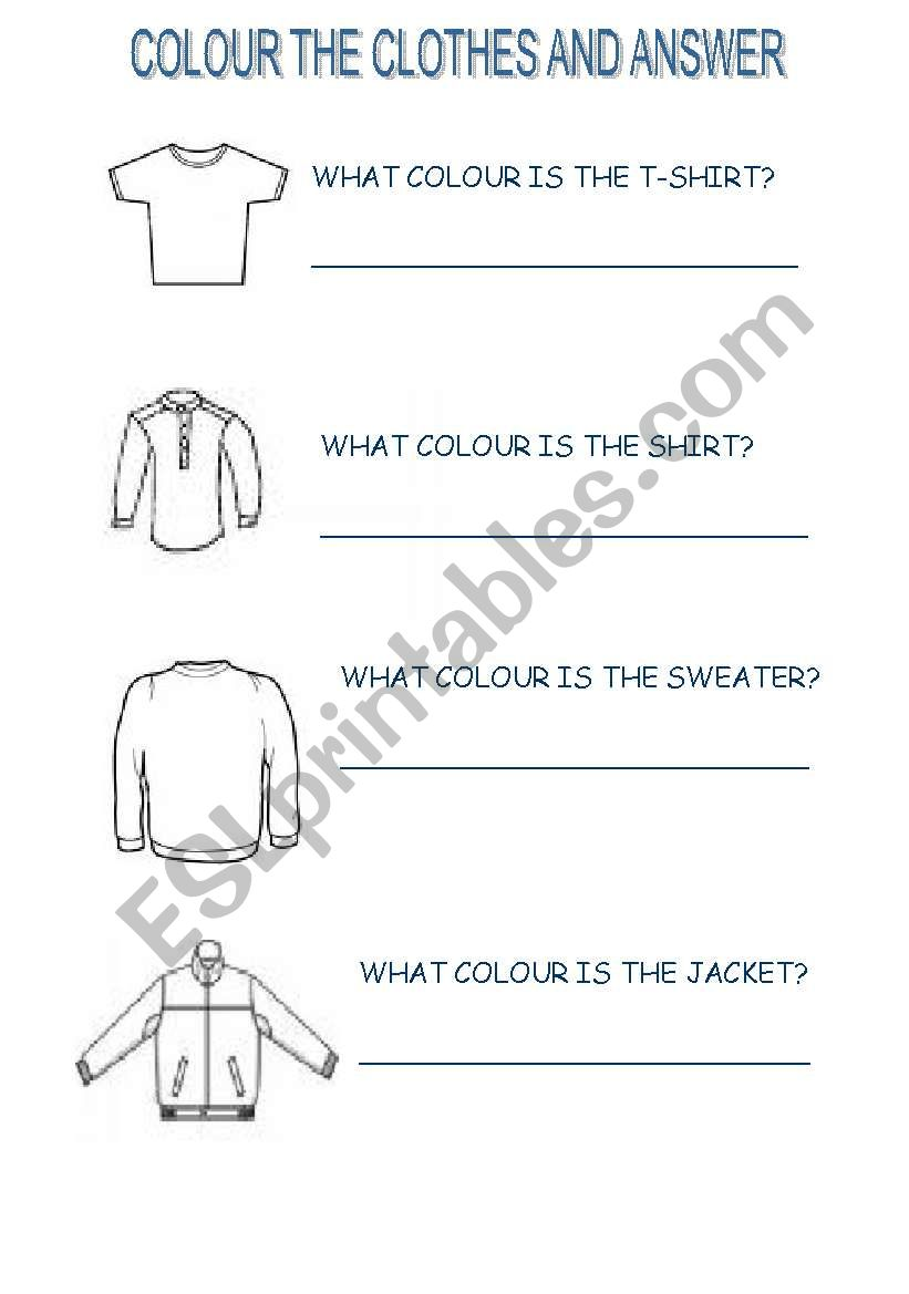 colour the clothes and answer worksheet