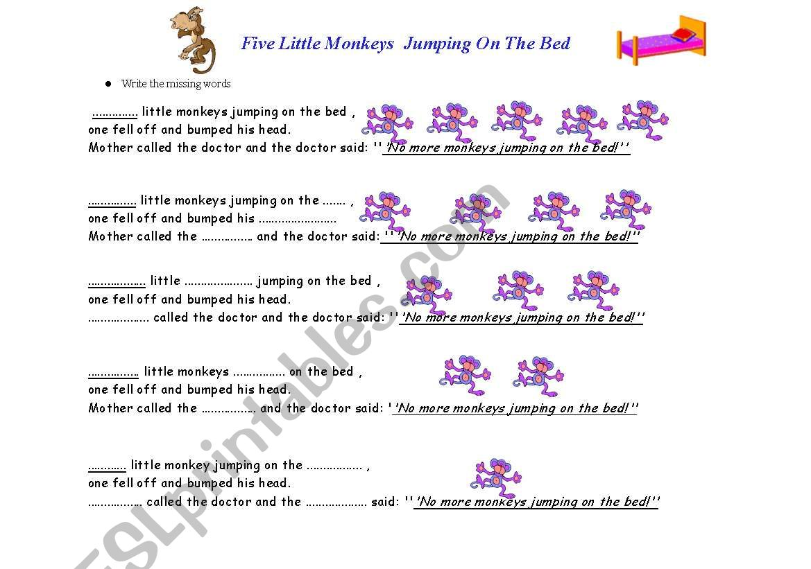 Five Little Monkeys Jumping on the Bed/ Worksheet
