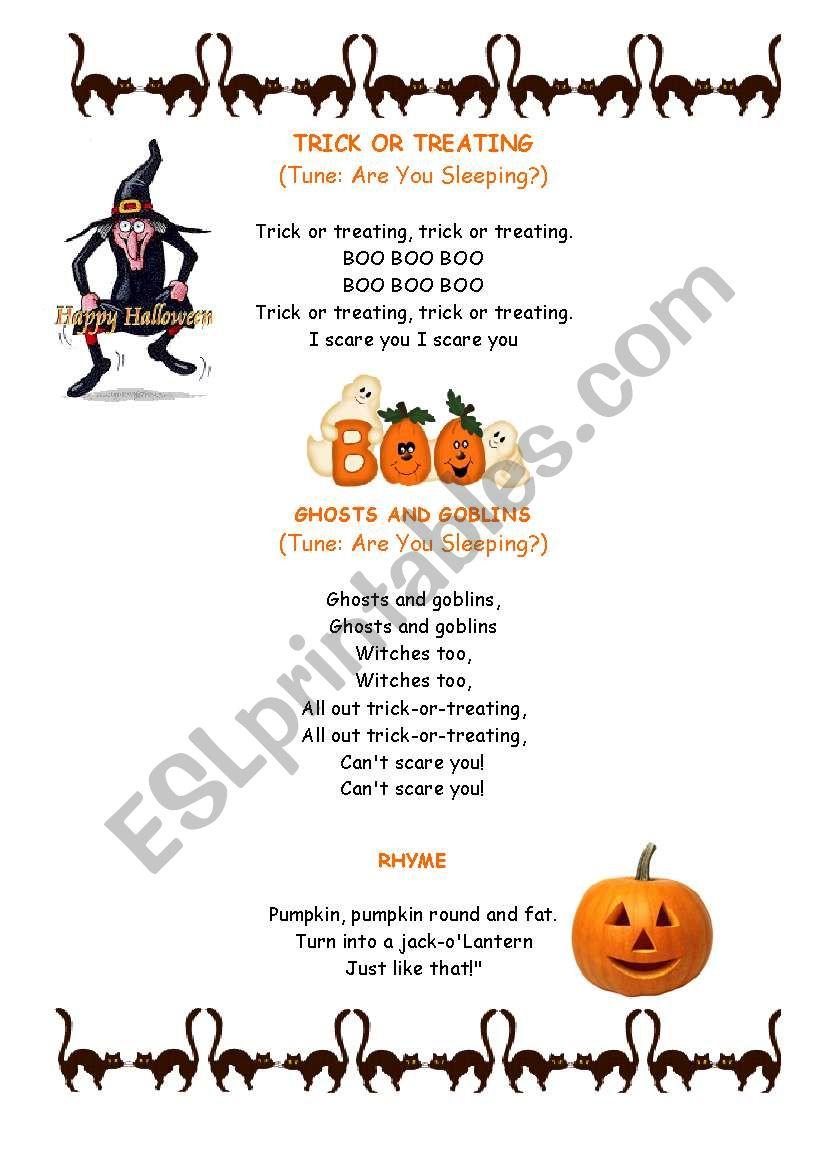 halloween songs and rhyme worksheet