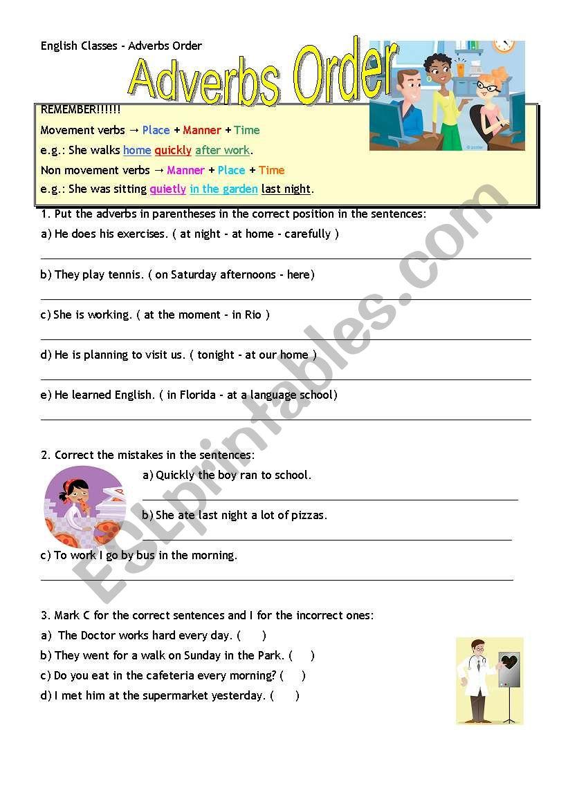 Adverbs Order Manner Place Time Esl Worksheet By Lihgf