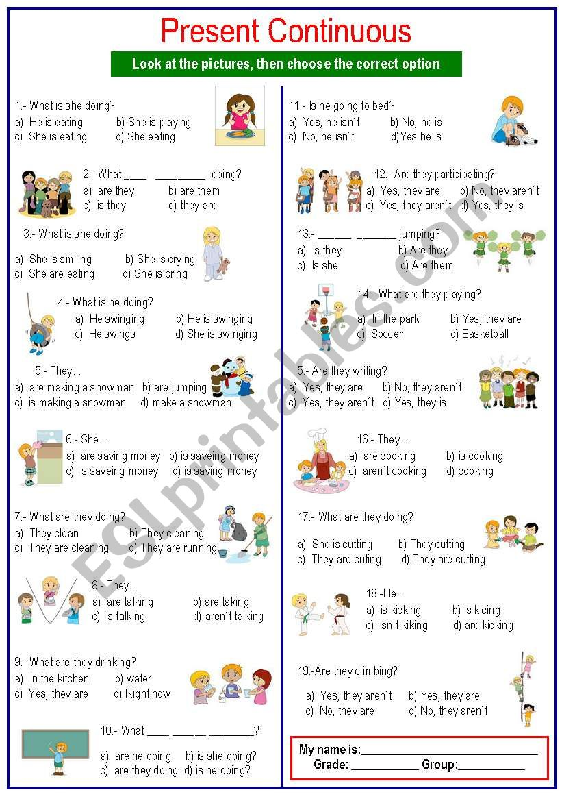 Questions Present Continuous worksheet