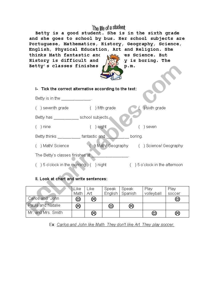 Days of week and timetable worksheet