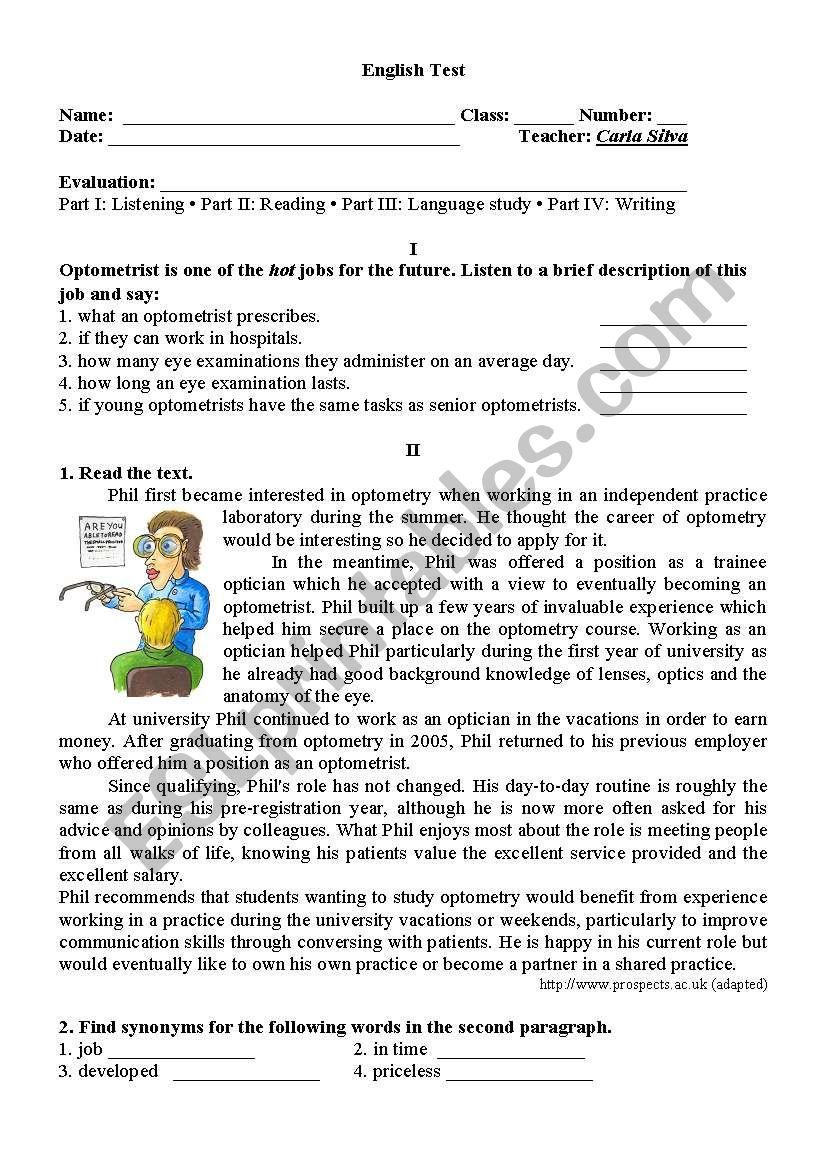 11th Grade test worksheet