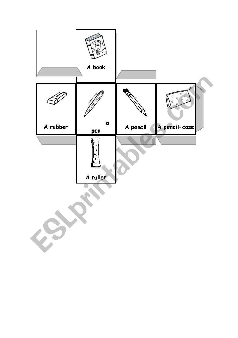 school objects dice worksheet