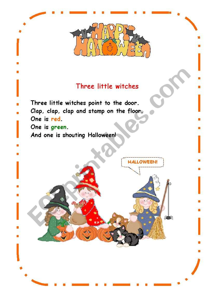 three little witches worksheet