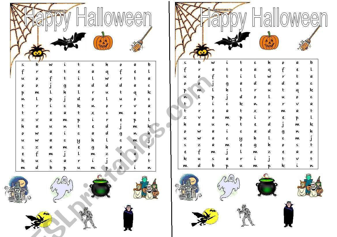 Halloween wordsearch worksheet