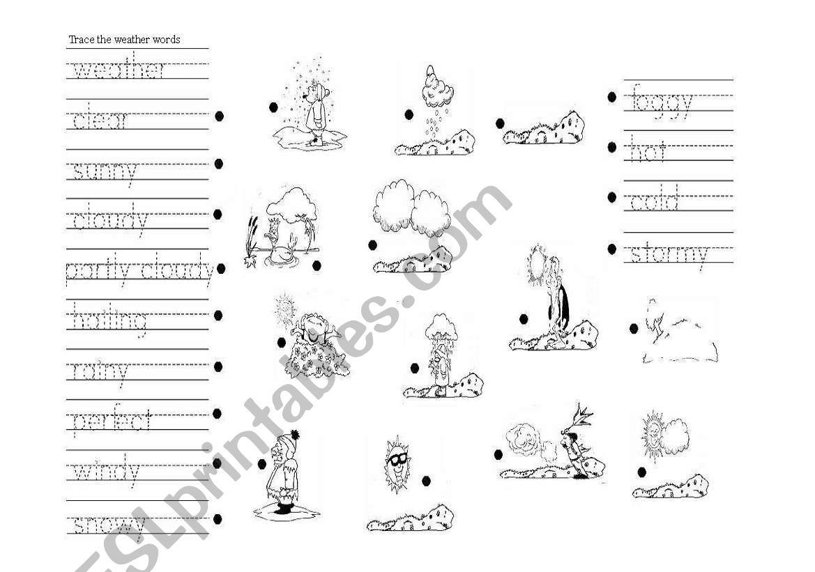 weather trace esl worksheet by eri28. Black Bedroom Furniture Sets. Home Design Ideas