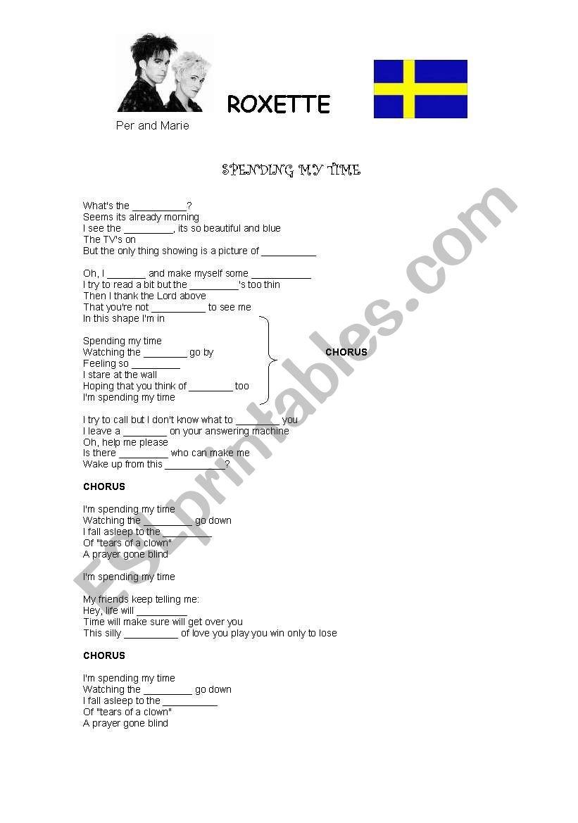 Song: Spending my Time worksheet